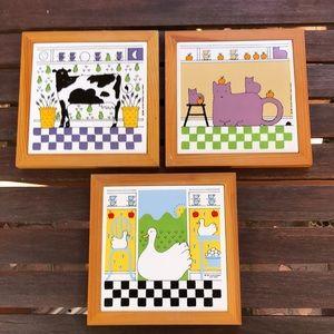 Lillian Vernon 1982, lot of 3 cat, cow, duck tiles